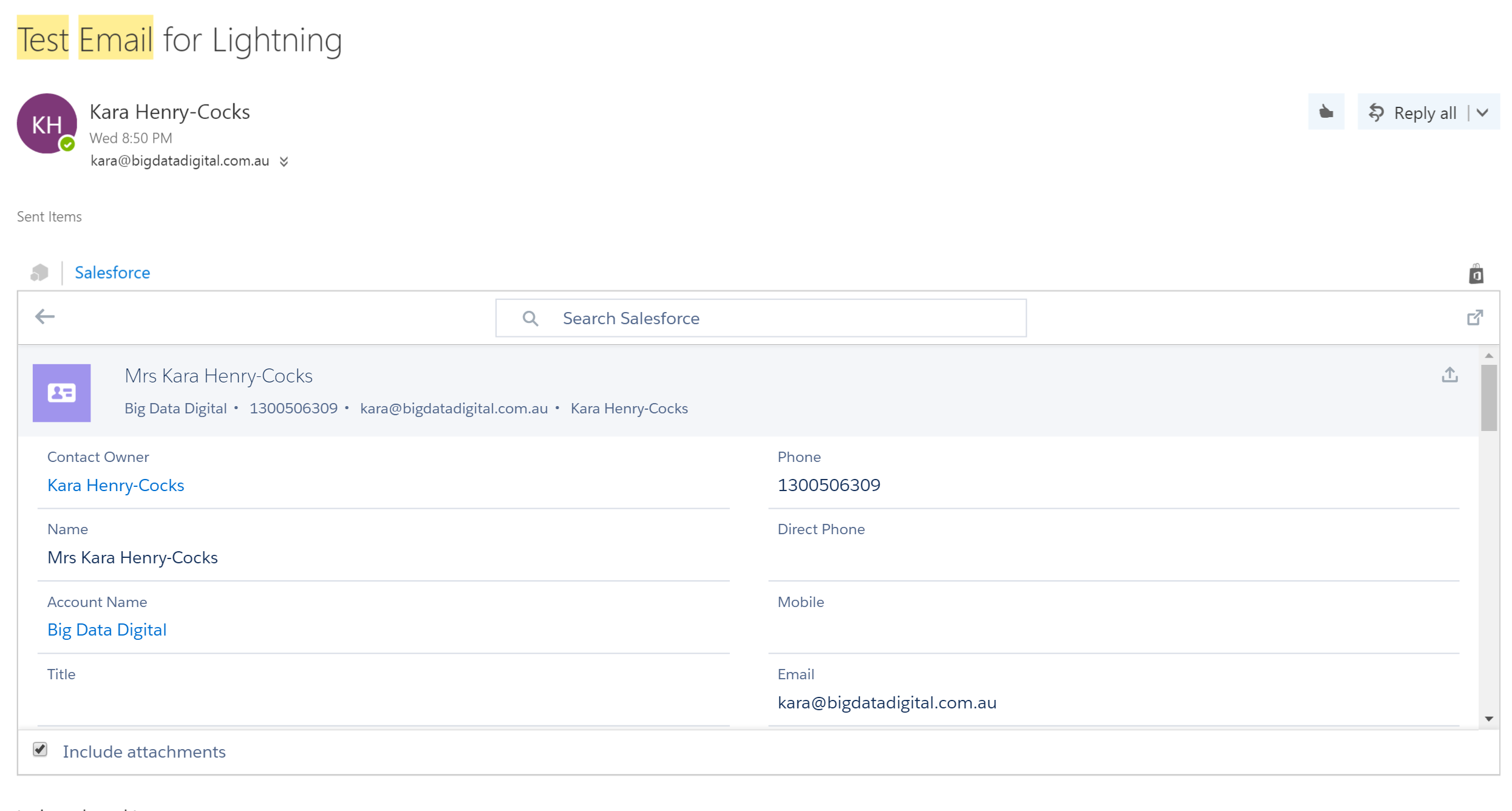 Salesforce Lightning for Outlook OWA Version